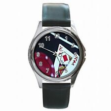 BlackJack Las Vegas 21 Card Game Lucky Gambling Leather Watch New!