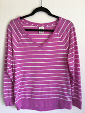 VS Victoria's Secret PINK Womens Long Sleeve Raglan Purple Stripe Top Hi-Low XS