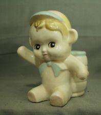Vintage Pottery Pot de Fleur Petit Pâte Garçon Bonnet Chapeau Bébé Singe Ears