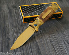 Gold Portable Outdoor Survival Tactical Folding Knives Camping Hunting Blade