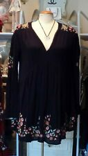 Free People Black Embroidered Dress SZ S