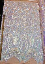 Iridescent Sky Blue/Nude Stretch Nylon Spandex Mesh Sequin Fabric