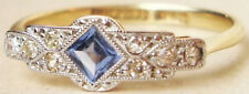 Antique Victorian 925 Silver Cocktail Ring 1.30ct Rose Cut Diamond Blue Sapphire