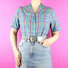 VINTAGE Lee Blue Pink Rockabilly Grunge Check Tartan 90s Blouse Shirt Top M 12