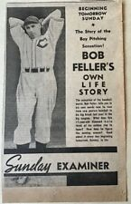 1937 newspaper ad for Cleveland's Bob Feller life story in Los Angeles Examiner