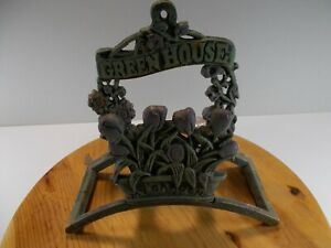 Front Gate Trellis Green Cast Iron Garden Hose Holder 9 Inch x 9 Inch Very Heavy