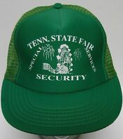 Vtg 1990s TENNESSEE STATE FAIR SPECIAL SECURITY SNAPBACK TRUCKER GREEN HAT CAP