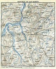 Repubblica di San Marino. Carta Geografica. Stampa Antica + Passepartout. 1891