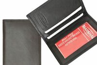Black Mens Genuine Leather Bifold Thin Wallet ID Credit Card Holder Key Zip