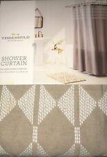 "Threshold Tan Embroidered Diamond Cotton Fabric Shower Curtain 72 X 72"""