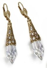 NEW SWEET ROMANCE GOTHIC PRISM CRYSTAL PENDULUM LEVERBACK EARRINGS  BT/CLEAR