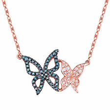 Prism Jewel 0.21ct Blue Diamond with Diamond H-I/I2-I3 Double Butterfly Necklace
