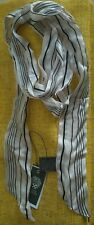 New Vince Camuto Scarf Color Light Peach And Black Stripes Silk, Work, School,