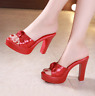 New Women Bling Wedge High Heel Fashion Platform Chunky Slip On Sandals Peep Toe