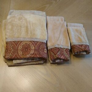 Sherry Kline 6 Piece Set 2 Towels Biege And Red 2 Hand Towels 2 Tea Towels