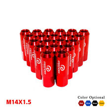 20PC M14X1.5 60MM EXTENDED FORGED ALUMINUM TUNER RACING LUG NUT CONE SEAT RED