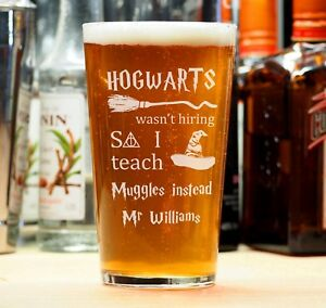 Personalised Engraved Beer Pint Glass Teacher Gift Harry Potter Muggles Student