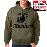 MARINES HOODIE MILITARY GREEN Us Hooded Usmc Sweatshirt Marine Corps Semper Fi