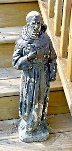 "Antique weathered Saint Cement Garden Statue Patron Saint 24"" shabby chic heavy"