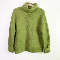 Caslon Womens Small Light Green Chunky Cable Knit Turtleneck Sweater Pullover
