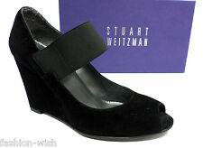 994bd93b323dd STUART WEITZMAN Black Suede Size 7 Wedge Shoes Mary Jane Heels Pumps