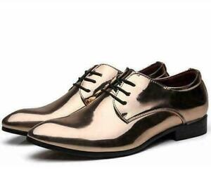 Mens Oxfords Pumps Shiny Patent Leather Party Pointy Toe Wedding Nightclub Shoes