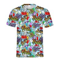 Art Graffiti Print Men's Crew Neck Personalized T-shirt Hip Hop Street Wear