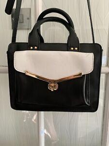 Women's Black & White Faux Leather Atmosphere Handbag/ Crossbody Bag/ Handbag