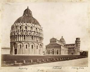Lot two large albumen photos front-back Pisa by Noack attributed to 1870c XL79