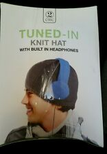 TUNED-IN Knit Hat Built In HEADPHONES BLUE GRAY Two's Company ONE SIZE MUSIC FUN