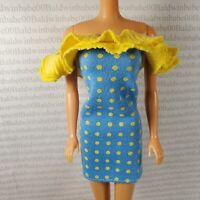 COCKTAIL C~ DRESS ~ BARBIE FASHION DOLL BLUE YELLOW POLKA DOT ACCESSORY CLOTHING