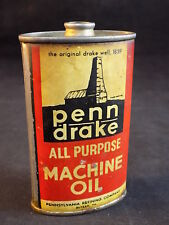 Vintage Penn Drake All Purpose Machine Oil No Top Oil Can Oiler Gas Oil Can