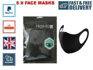 5 X Reusable Face Mask Covering Washable Breathable Dust Protection UK Seller