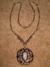 Vintage Iridescent Black Rhinestone & Cameo West Germany Signed Necklace