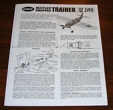 COX THIMBLE DROME QZ .049 TRAINER ASSEMBLY AND FLIGHT INSTRUCTION MANUAL 049