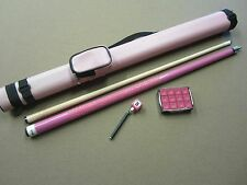 Pink Pool Cue 1x1 Case Chalk & 8 Ball Chalker Package w/ Free Shipping