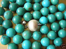 Echte Türkis Turqoise Kugel Kette 925 Silber Kugel Verschluß 33,8g/Länge 46,5cm