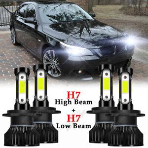 4x H7 For BMW 528i 535i 2008-2010 Combo LED Headlight Hi Low Beam 6000K Bulbs