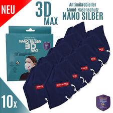 10x WASCHBARE NANOSILBER 3D MAX in Blau ATEMSCHUTZMASKE MUNDSCHUTZ MASKE 3LAGIG