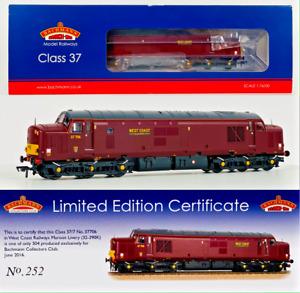 BACHMANN 00 GAUGE - 32-390K - CLASS 37 DIESEL 37706 WEST COAST RAILWAYS MAROON