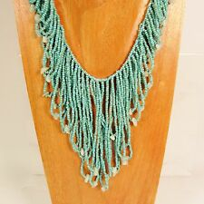 Bohemian Flapper Style Handmade Turquoise Blue Stone Chip Seed Bead Necklace