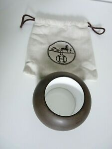 GENUINE HERMES BANGLE XXL LACQUERED WOOD BROWN WHITE POUCH  SIZE S IMPRESSIVE