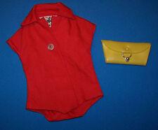 Vintage Barbie Pak RED Plain Blouse 1962-1963 Mix & Match & Yellow Clutch Purse