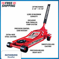 """3 Ton Low Profile Floor Jack With Rapid Pump Lift Truck Service Vehicle Red 20"""""""