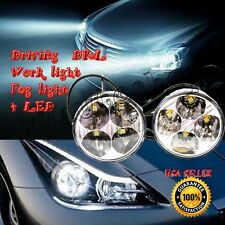 2Pcs Universal 4 Round LED Car Daytime Running Light Fog Driving Lamp White