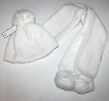 Gap Kids NWT Big Girls One Size Ivory Faux Sherpa & Fleece Hat Scarf Set