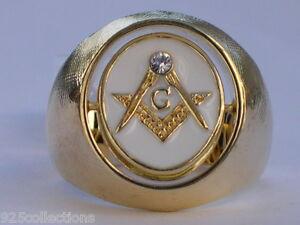 Turn Swivel Black White Enamel Clear Crystal Stone Mason Masonic Men Ring 13