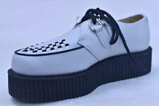 """ANARCHIC A6803 WHITE LEATHER 2"""" CLASSIC 2 EYE CREEPERS UNISEX 8 /10 NOS PUNK"""