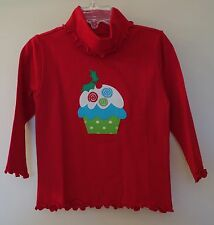 New In Bag Kelly's Kids Red Applique Cupcake Curly Turtleneck Top ~ Sz 3-4 ~Cute