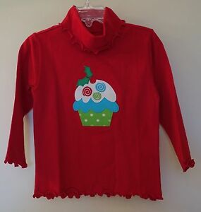 New Kelly's Kids Red Applique Cupcake Curly Turtleneck Top ~ Girl's Sz 12 Month